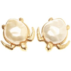 Chanel Vintage Faux Pearl Sea Turtle Earrings, 1980s