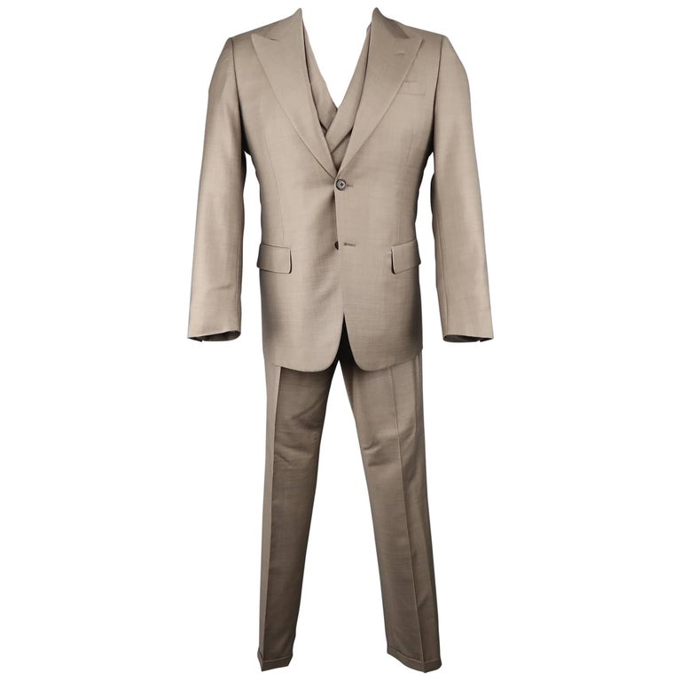 Prada Men's Taupe Solid Wool and Silk 3 Piece Double Breasted Vest Suit