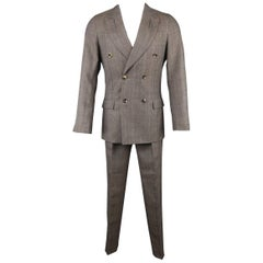 Yves Saint Laurent by Tom Ford Men's Taupe Glenplaid Wool Peak Lapel Suit