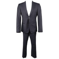 Giorgio Armani Men's Navy Pinstripe Wool Notch Lapel Suit