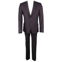 Men's  VERSACE COLLECTION 38 Short Eggplant Wool Peak Lapel Suit