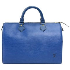 Louis Vuitton Vintage Speedy 30 Blue Epi Leather City Hand Bag