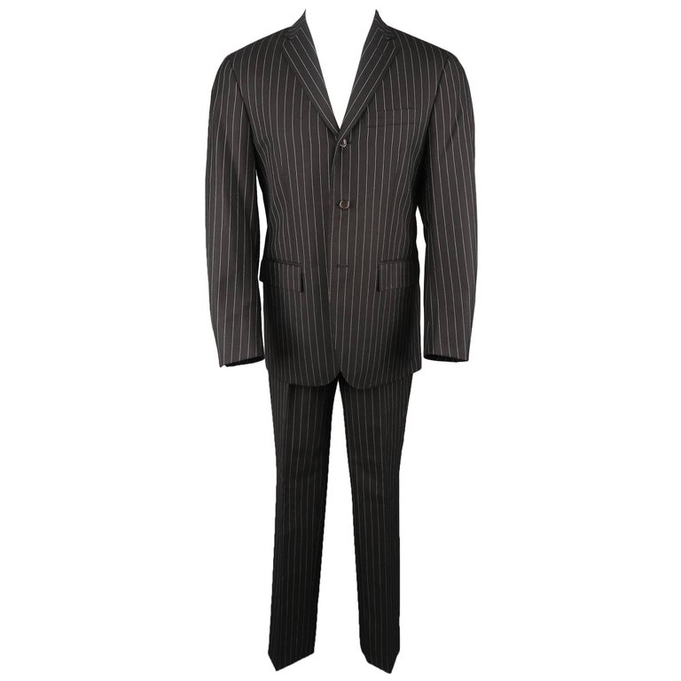 Men's RALPH LAUREN 38 Short Black Pintripe Wool Notch Lapel Suit