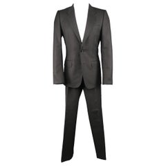Men's YVES SAINT LAURENT by TOM FORD 38 Charcoal Wool 2 Button Notch Lapel Suit