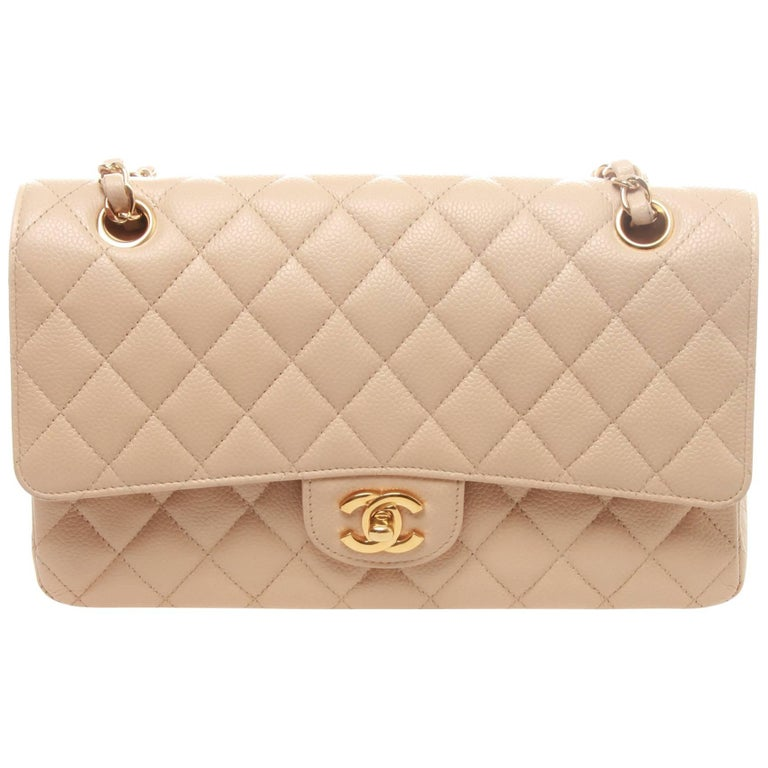 Chanel Light Beige Quilted Caviar Leather Classic Jumbo Double Flap Bag