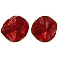 Yves Saint Laurent YSL Rive Gauche Vintage Red Enamel Creased Clip-On Earrings
