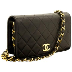 Chanel Small Chain Lambskin Shoulder Bag Clutch Black Quilted Flap