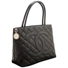Chanel Caviar Medallion Silver Hardware Black Leather Shoulder Bag Tote