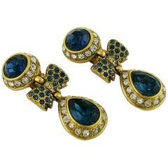 Sonia Rykiel Vintage Jewelled Bow Dangling Earrings