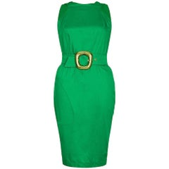 Thierry Mugler 1980s Emerald Green Dress With Statement Belt