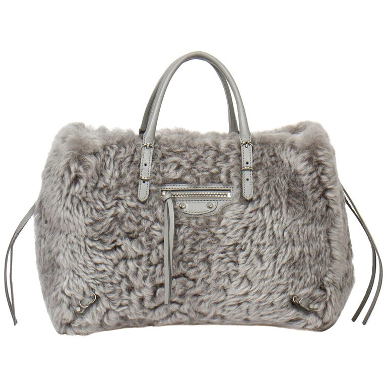 Balenciaga Papier A6 Mini Zip Around in grey merino lamb fur