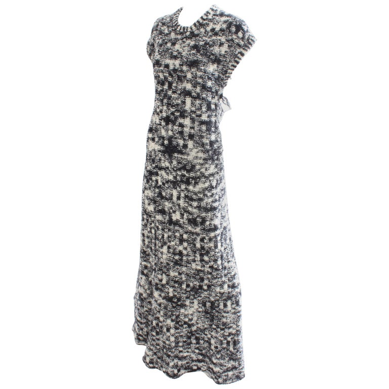 Chanel Knit Scandinavian Fringe Evening Gown With Open Back