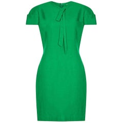 Gianni Versace 1980s Emerald Green Linen Mod Dress