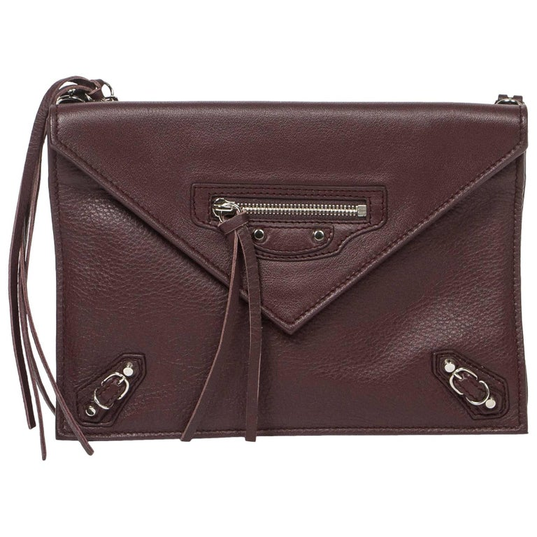 Balenciaga Paper Envelope Crossbody bag in brown leather
