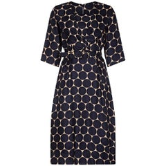 Leslie Fay 1950s Silk Navy and Cream Circle Print Dress With Belt