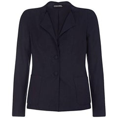 Chanel 1990s Haute Couture Navy Silk and Linen Blend Blazer