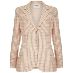 Chanel 1990s Pale Peach Wool & Silk Tweed Blazer