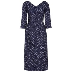 Henri 1950s Silk Navy Polkadot Dress With Pleating Detail