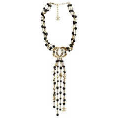 Chanel 2016 Goldtone & Black Beaded Multi-Strand CC Necklace with Box