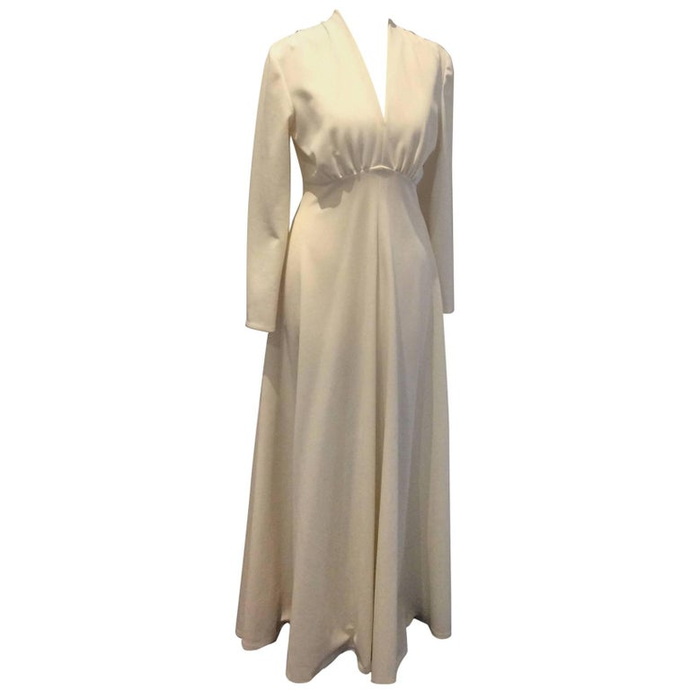 Vintage 1970\'s cream gown by \'Emerson\' at 1stdibs