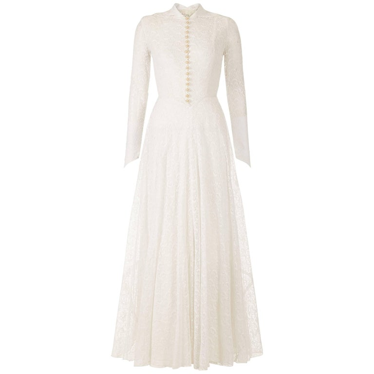 Grace Kelly Style 1950s White Lace Bridal Gown With Pearl Buttons