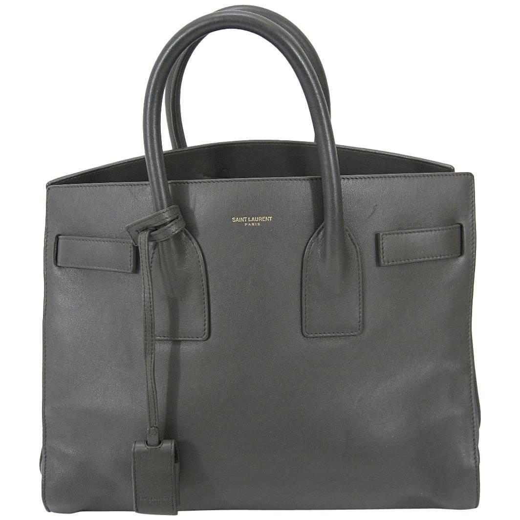Saint Laurent Baby Sac De Jour Gray Leather Handbag Purse
