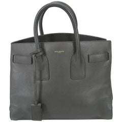 Saint Laurent Baby Sac De Jour Gray Leather Handbag Purse