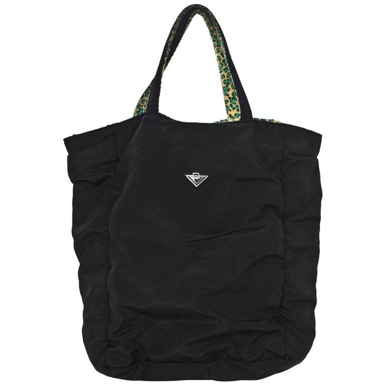 Bottega Veneta Vintage Black & Green Leopard Reversible Tote Bag