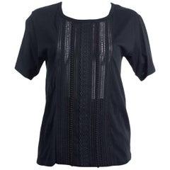 Saint Laurent Women's Black Broderie Anglaise T-shirt