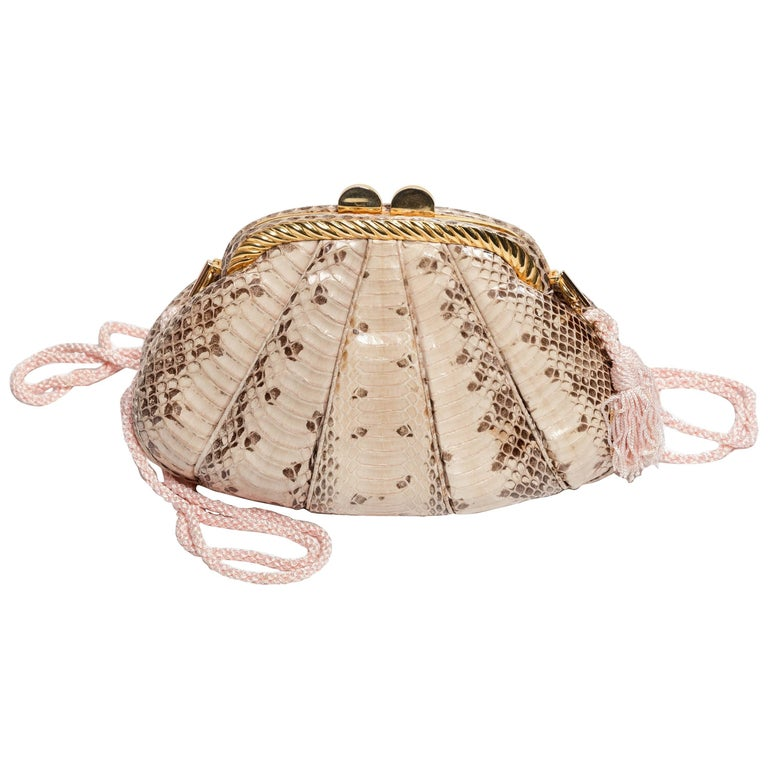 Judith Leiber Tan Python Clutch with Silk Rope Shoulder Strap