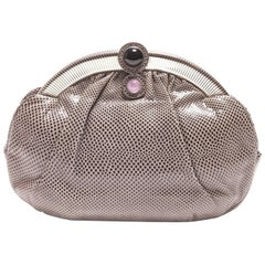 Judith Leiber Graphite Snakeskin Clutch with Quartz and Onyx Accent