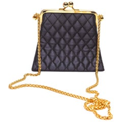 Black Quilted Silk Escada Bag with Gold Chain