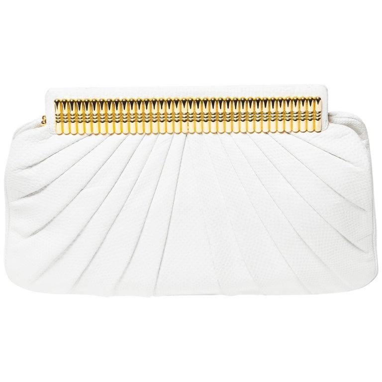 Judith Leiber White Snakeskin Clutch with Hidden White Leather Shoulder Strap