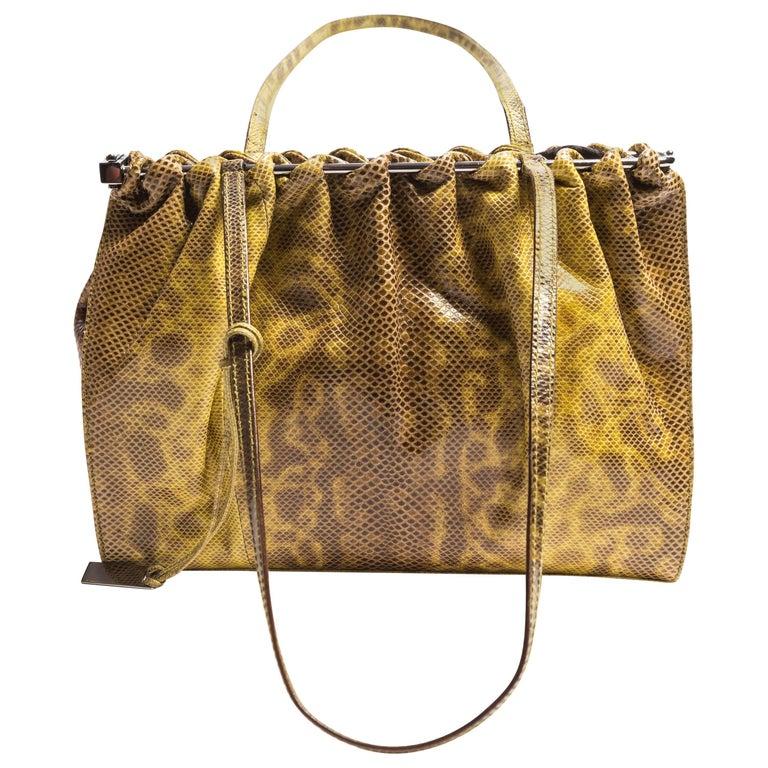 Gucci Green Lizard Shoulder Bag with Dustbag