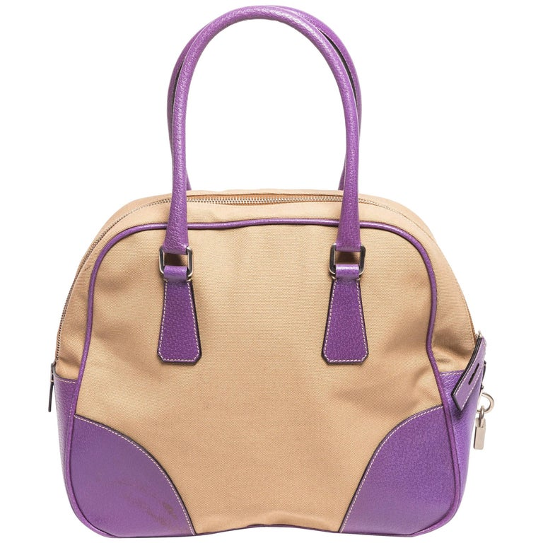 Prada Canvas and Purple Leather Top Handle Bag with Lock,  Keys and Luggage Tag