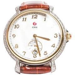 Michele Stainless Steel Quartz Watch with Diamond Surround