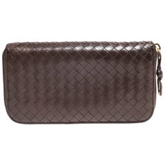 Bottega Veneta Intrecciato Brown Leather Zip Wallet