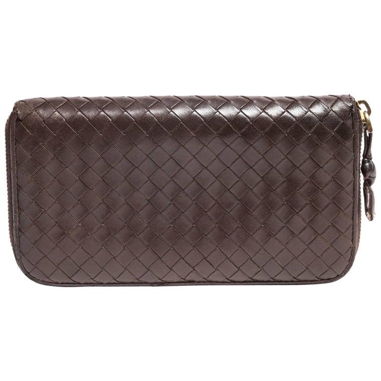 Bottega Veneta Intrecciato Brown Leather Zip Wallet