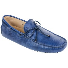 Tod's Men's Blue Laccetto MYCOLORS Gommini Driving Moccasins