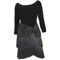 Oscar de la Renta for Saks Black Velvet Beaded and Fringed Cocktail Dress Size 6