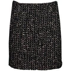 Chanel Black & White Wool Tweed Mini Skirt Sz FR34