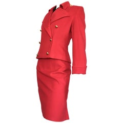 Patrick Kelly 1980s Red Wool Skirt Suit Size 6.