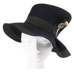 NORMAN DURAND Original c.1940's Black Fur Felt Asymmetrical Sculptural Hat