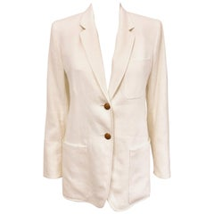 Harmonious Hermes Ivory Linen Single Breasted Two Button Jacket