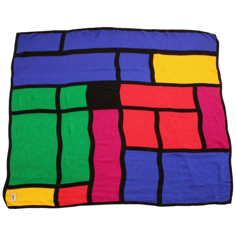 Yves Saint Laurent Silk Scarf Massive Mondrian Print Shawl 53in YSL 90s Rare