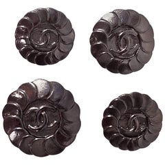 Chanel 1997 Set of Four 18/20/22mm Gunmetal Disc CC Buttons