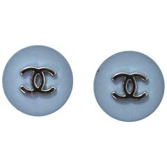 Chanel Set of Two 18mm Blue & Silver CC Buttons