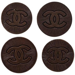 Chanel Set of Four 18/20mm Coppertone Textured CC Buttons