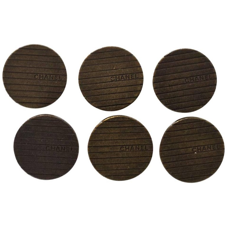 Chanel Set of Six 18m Brasstone Stripe Buttons