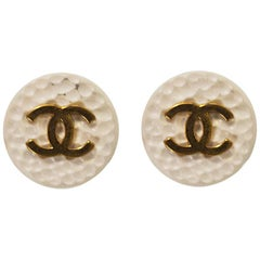Chanel Set of Two 20mm Cream & Goldtone Textured CC Buttons